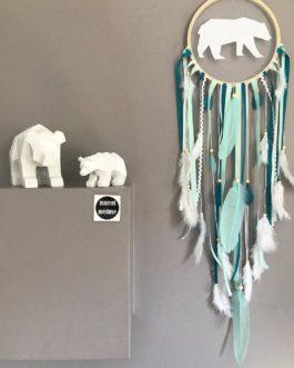 Attrape-rêves dreamcatcher ours polaire tons mint, blanc et bleu canard