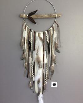 Attrape rêves Dreamcatcher en bois flotté et plumes naturelles. Grand modèle