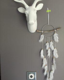 Attrape-rêves Dreamcatcher en bois flotté, coloris blanc