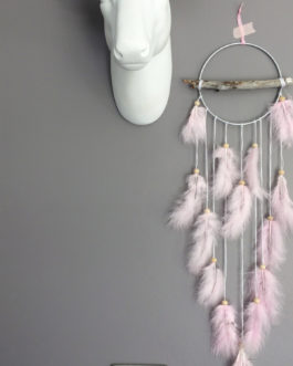 Attrape rêves Dream catcher en bois flotté, coloris rose poudré
