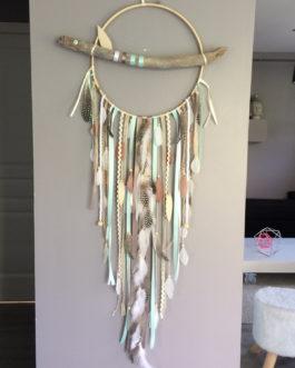 Attrape rêves Dreamcatcher géant diametre 30 cm et longueur 90 en plumes naturelles – Modèle Géant