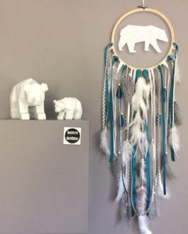 Attrape reves Dreamcatcher ours polaire en bleu canard, blanc et gris