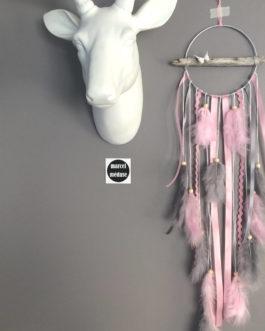 Attrape-rêves dreamcatcher en bois flotté dans des tons de gris, rose poudré – dreamcatcher