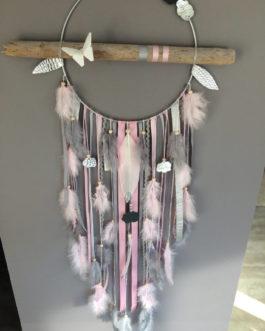Attrape-rêves dreamcatcher nuages et paillettes en bois flotté, origami, plumes et perles bois  – GM