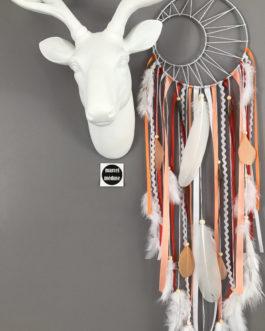 Attrape-rêves dreamcatcher tissage soleil coloris corail et blanc