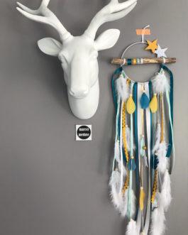 Attrape rêves Dreamcatcher en bois flotté, coloris mint, bleu canard, moutarde et blanc avec étoiles