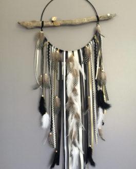 Attrape-rêves en bois flotté, origami, plumes et perles bois coloris noir, taupe, doré  – grande dimension