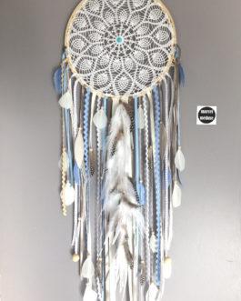 Grand Attrape rêves / dreamcatcher / attrapeur de rêves en dentelle, plumes et perles bois