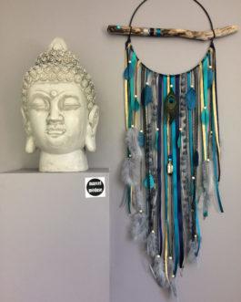 Attrape-rêves en bois flotté, plumes de paon et perles bois coloris noir, turquoise, bleu marine et doré  – grande dimension