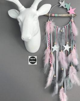 Attrape rêves Dreamcatcher en bois flotté, coloris mint gris et rose avec étoiles