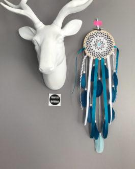 Attrape-rêves / dreamcatcher en dentelle et plumes bleu pétrole