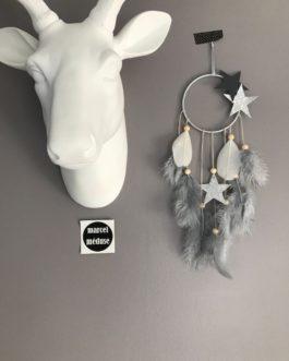 Mini Dream catcher, coloris gris et argent avec etoile