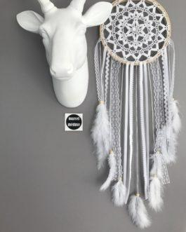Attrape-rêves Dreamcatcher en dentelle au crochet, coloris blanc
