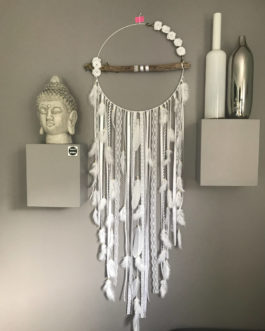 Attrape-rêves / dreamcatcher All white GEANT en bois flotté