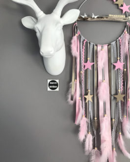 Attrape rêves Dreamcatcher en bois flotté – Rose poudré et taupe avec de petites étoiles. Prénom personnalisable