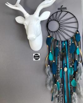 Attrape reves Dreamcatcher tissage soleil noir en turquoise bleu canard et gris