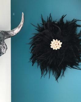Jujuhat / juju hat handmade en plumes naturelles 35 cm de diamètre – coloris noir