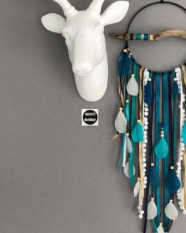 Attrape-rêves en bois flotté en bleu canard, vert, blanc et noir