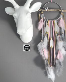 Attrape rêves Dreamcatcher en bois flotté rose poudré, or et blanc – diamètre 12 cm