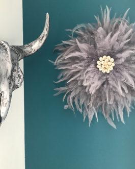 Jujuhat / juju hat handmade en plumes naturelles 38 cm de diamètre – coloris gris argent
