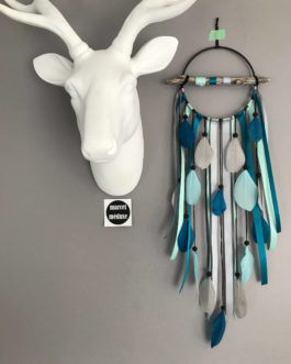 Attrape rêves Dream catcher en bois flotté gris, bleu et mint – diamètre 12 cm