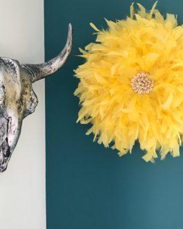 Jujuhat / juju hat handmade en plume 38 cm de diamètre – coloris jaune