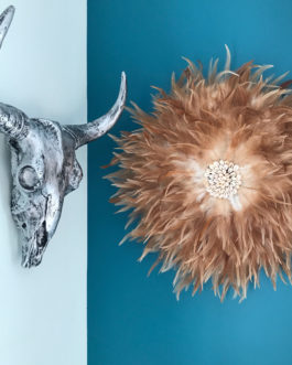 Jujuhat / juju hat handmade en plumes naturelles 50 cm de diamètre – coloris fauve