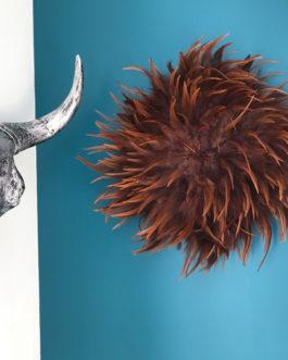 jujuhat / juju hat handmade en plumes naturelles 35 cm de diamètre – coloris marron