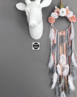 Attrape rêves Dreamcatcher licorne, coloris saumon, corail, gris et blanc avec fleurs tissus