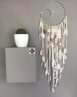 Grand Dream catcher tissage soleil blanc, en coloris ivoire, blanc et fauve