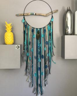 Attrape-rêves / dreamcatcher GEANT en camaieu de bleu canard,bleu marine, gris et doré