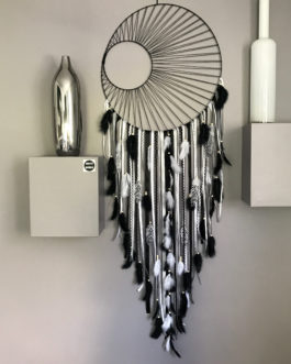 attrape rêves Dreamcatcher géant diametre 40 cm et longueur 130 – tissage soleil -black and white