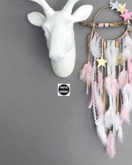 Réservé Virginie Dream catcher en bois flotté, coloris rose poudré, gris, mint et blanc avec étoiles