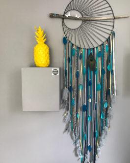Attrape-rêves / dreamcatcher GEANT tissage soleil en camaieu de bleu
