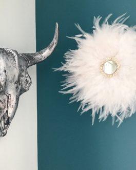 Jujuhat / juju hat handmade en plumes 35 cm de diamètre avec centre miroir – coloris blanc