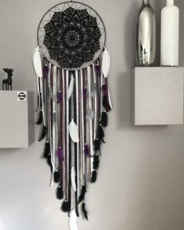 Attrape-rêves / dreamcatcher GEANT avec dentelle noire tons noir, gris, blanc et prune