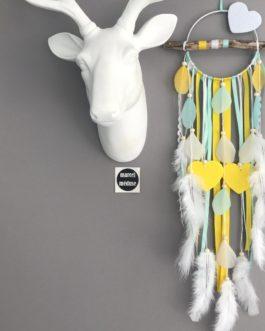 Attrape rêves Dreamcatcher en bois flotté, coloris mint, jaune et blanc avec coeur
