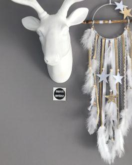 Attrape rêves Dreamcatcher en bois flotté, coloris or et blanc avec étoiles
