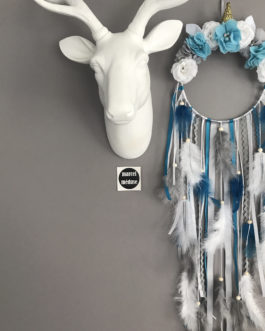 Attrape rêves Dreamcatcher licorne, coloris turquoise, gris et blanc avec fleurs tissus
