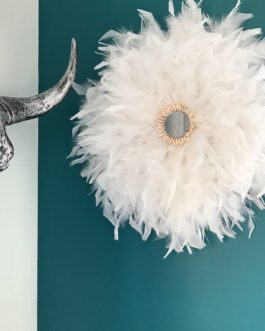 Jujuhat / juju hat handmade en plumes 45 cm de diamètre avec centre miroir – coloris blanc pur