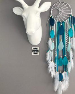 Attrape rêves Dreamcatcher tissage soleil en mint, turquoise, bleu canard et blanc