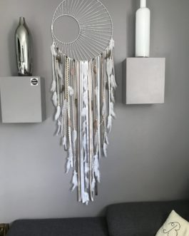 attrape rêves Dreamcatcher géant diametre 40 cm et longueur 130 – tissage soleil -blanc et couleurs naturelles