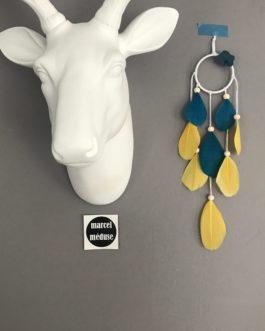 Mini mini Dream catcher attrape rêves, coloris moutarde et bleu canard