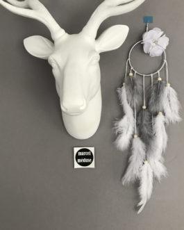 Mini Dream catcher attrape-rêves, coloris blanc et gris avec fleur
