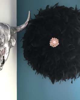Jujuhat / juju hat handmade en plumes naturelles 55 cm de diamètre – coloris noir