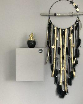 Attrape rêves Dreamcatcher géant diametre 30 cm et longueur totale 100 cm, tons de noir et doré or avec étoiles