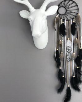 Attrape rêves Dreamcatcher tissage soleil en noir, taupe et blanc