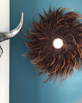 Jujuhat / juju hat handmade en plumes 35 cm de diamètre avec centre miroir – coloris écru