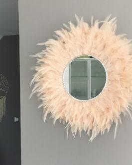 Jujuhat / juju hat miroir handmade en plumes 45 cm de diamètre avec centre miroir 22 cm –  coloris rose poudré nude