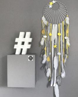 Attrape rêves dreamcatcher tissage soleil, jaune, gris et blanc geant